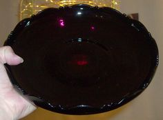 DEPRESSION GLASS BLACK PURPLE AMETHYST GLASS FRUIT COMPOTE FOOTED  $45