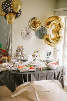 Liz Novi Photography - young, wild and three party, wild animal, black white and gold birthday party, third birthday party