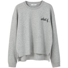 Message Cotton Sweatshirt ($22) ❤ liked on Polyvore featuring tops, hoodies, sweatshirts, print top, patterned tops, round top, mango sweatshirt and mango tops