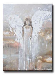 """Delicate Strength"" Print, Canvas Art abstract angel painting spiritual heaven modern neutral home decor white angel wings Christine Krainock, Christine Bell"