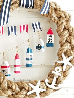 Nautical Wreath  with little buoys and flags - Summer-coastal decor