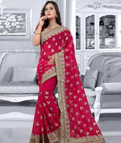 Buy Magenta Chiffon Saree With Blouse 75783 with blouse online at lowest price…