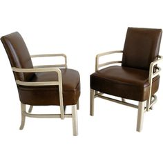 Pair - American Modern Streamline Leather and Wood Armchairs | From a unique collection of antique and modern armchairs at http://www.1stdibs.com/furniture/seating/armchairs/