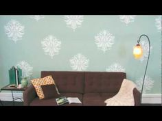 Benjamin Moore's Color of the Year! Stenciled Accent Wall tutorial video. http://blog.cuttingedgestencils.com/friday-feature-gabis-brocade-stencil.html #howtostencil #CuttingEdgeStencils #stencils