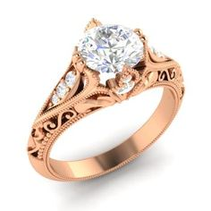 Tangerina Engagement Ring with Round White Topaz, SI Diamond | 1.1 carat Round White Topaz  Vintage Engagement Ring in 10k Rose Gold | Diamondere