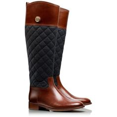 Tory Burch Rosalie Riding Boot (1.085 BRL) ❤ liked on Polyvore featuring shoes, boots, tory burch, botas, zapatos, knee-high boots, knee high boots, quilted knee boots, equestrian riding boots and tory burch boots