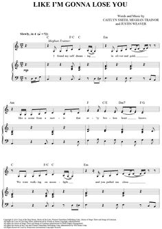 """Like I'm Gonna Lose You"" Sheet Music by Meghan Trainor from OnlineSheetMusic.com"