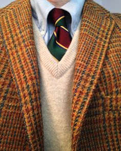 Vintage 3/2 Diplomat Harris Tweed, Brooks Brothers blue OCBD (unlined collar), Ralph Lauren Polo silk tie (Italy), L.L. Bean wool sweater vest (Scotland).