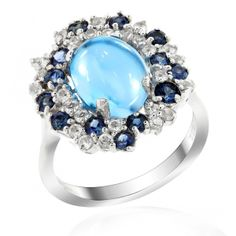 Coming with a beautiful arrangement of Blue Topaz, Tsavorites and Cubic Zirconia, this ring is reminiscent of a garden of violets in its first bloom of spring. While the theme of the ring carries natural appeal for all tastes, you will find it particularly interesting if you fancy floral themes on your accessories. The slender band of the ring is made from the best quality 925 Sterling Silver and is plated with a layer of Rhodium to give it that extra oomph.