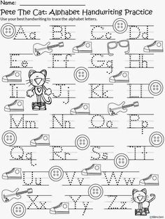 FREE Pete the Cat writing practice