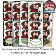 http://www.photoboothtemplates.com/product/little-bit-o-irish-4-up-strips/  This beautiful photo booth template sings an Irish melody. Your special occasion is framed by a cute nameplate and anchored by a thick ribbon. Border, background, nameplate. colors can easily be adjusted to compliment any event.