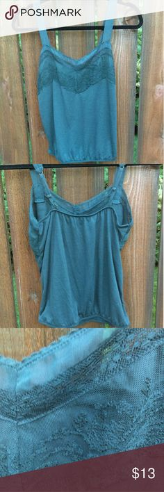 AE lace detail cami Charcoal grey Cami, lace detail at neckline, chiffon adjustable straps, shorter length but wouldn't consider it cropped hits right at the top of my jeans but I do have a shorter torso, flowy fit with elasticized waist, never worn washed once American Eagle Outfitters Tops Tank Tops