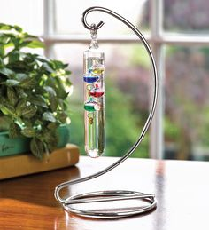 Hanging Desktop Galileo Thermometer on Metal Stand