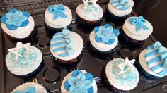 Blue and white, Star of David, Bow, Flower, ruffle cupcakes by allthatfrost.com