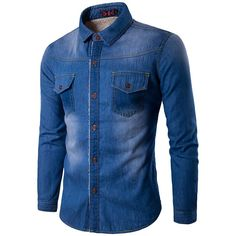 Men Denim Long Sleeve Shirt Slim Fit  Jeans Jacket Shirt Camiseta Masculina