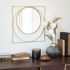 Gold Metal Mirror on Maisons du Monde. Take your pick from our furniture and accessories and be inspired! Interior Design Living Room, Living Room Designs, Design Interiors, Spiegel Design, Mirror Crafts, Decoration Entree, Wall Decor, Room Decor, Box Houses