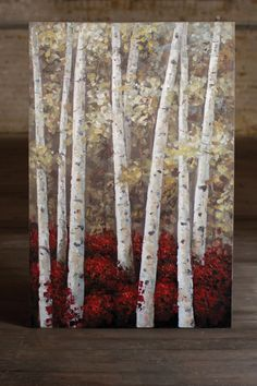 tall birch forest oil painting