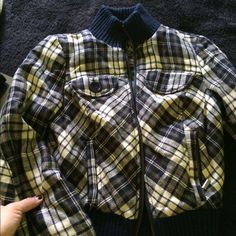Guess plaid jacket Super adorable plaid jacket with soft green liner inside !!! Guess jacket only worn twice, one button is lost on front pocket other than that perfect condition !!! Super warm !!!! Guess Jackets & Coats