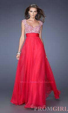 Long Formal Dress with Cap Sleeves- La Femme at PromGirl.com