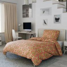 Krepové povlečení oranžové zelené ornament orient mandala květiny mozaika rozeta Comforters, Blanket, Bed, Furniture, Home Decor, Creature Comforts, Quilts, Decoration Home, Stream Bed