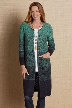7d522b38a3 This soft knitted ombreSeascape Cardigan flows from turquoise to navy in  a textural decorative chevron stitch