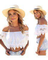 DDLBiz® 1pc Sexy Mode Frauen Boho Lace Weiss Bluse aus Schulter Crop Shirt Tops (S)