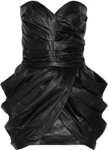 acfd62220bd Balmain Gathered Leather Dress - Lyst Designer Clothes Sale