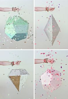Oh to have these geometric pinatas in our lives. (Filled with candy? Confetti? Glitter?) Via the Bluebird Blog.