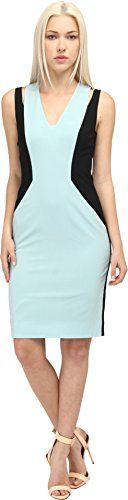 Sleek Rachel Roy Collection Women's Mint Cut Shoulder Colorblock Sleeveless Dress Color block Cut out detail at shoulder