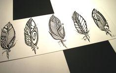 Five Feathers . Original Pen Drawing . Abstract Art . Minimalist Art . Black and White Art. $40.00, via Etsy.