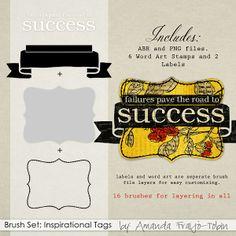 Brush Set: Inspirational Tags Biggie - Commercial License Digital Scrapbooking Kit by Amanda Fraijo-Tobin | ScrapGirls.com