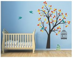Tree and Birds Wall Art Sticker - PD527  http://www.infinitywallart.com/tree-and-birds-wall-art-sticker-pd527.html