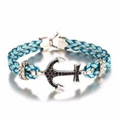 Endless August 2017 New Fashion Men's Retro Black Leather Bracelet Jewelry Pirate Style Crystal Anchor Bracelet For Male Women Bracelet Crafts, Bangle Bracelets, Bangles, Anchor Bracelets, Jewelry Crafts, Rope Jewelry, Beaded Jewelry, Jewlery, Black Leather Bracelet
