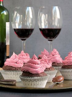 Red Wine Nutella Cupcakes With Oreo & Nutella Filling And Red Wine Frosting