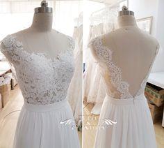{Design Your Own Wedding Dress} Gorgeous Customized Long Chiffon Wedding Dress with Scalloped Lace V Shaped Back