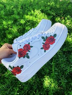 GuyIsabel Custom Nike Shoes Rose Nikes Rose Shoes Roses Custom Sneakers Nike Air Force 1 A theme Cute Nike Shoes, Cute Sneakers, Shoes Sneakers, Shoes Jordans, Nike Custom Shoes, Air Jordans, Vans Custom, Chanel Sneakers, Shoes Uk