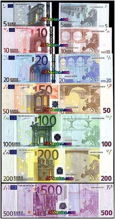 €EUR The single unit currency that is the Euro as used by most countries in the EU Billet En Euros, Money Template, Money Worksheets, Money Notes, Dollar Money, Money Stacks, Coins Worth Money, Gold Money, Coin Worth