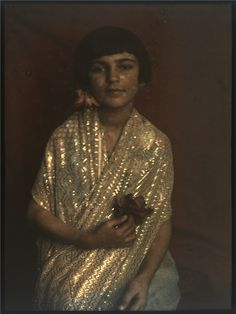 Indira Sher-Gil (sister of artist Amrita Sher-Gil) in 1924. From Vivan SUNDARAM's Four Black Boxes for the Family (installation), 1995,