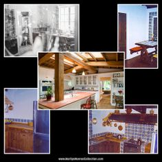 Kitchen in Marilyn's Brentwood home - then and now.