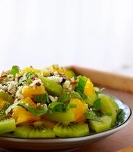KICK-START your week with this DETOXIFYING fruit salad!  2 oranges OR grapefruit (peeled and cut), 3 kiwis (peeled and cut into chunks), handful of toasted almonds (chopped), and 2 tbsp. finely chopped mint leaves. Mix fruit and mint in bowl, sprinkle toasted almonds on top with a drizzle of light agave nectar! EASY and DELICIOUS! Perfect for BREAKFAST or DESSERT!
