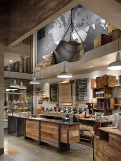 Modern starbucks coffee shop and tea store interior design, detail visit ar Design Café, Deco Design, Cafe Design, House Design, Design Ideas, Design Shop, Rustic Design, Store Design, Modern Design