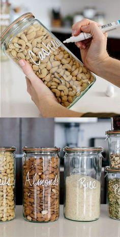 Kitchen Storage Solutions, Diy Kitchen Storage, Diy Kitchen Decor, Pantry Storage, Pantry Organization, Kitchen Pantry, New Kitchen, Food Storage, Diy Home Decor