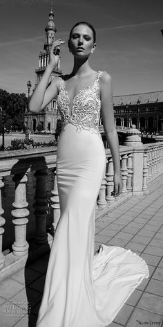alon livne 2017 bridal sleeveless thin strap deep plunging sweetheart neckline heavily embroidered bodice elegant sexy sheath wedding dress chapel train (marilyn) mv