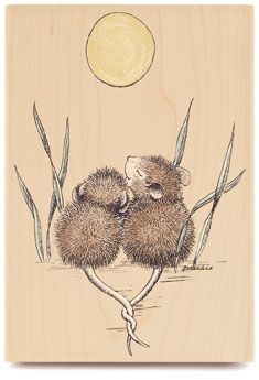 Two mice under the moon with intertwined tails.  So sweet!