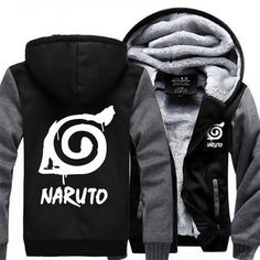 Naruto Cool Hidden Leaf Village Symbol Gray Black Hooded Jacket Anime Character & Style: Naruto,Cosplay, Hidden Leaf, Village, Symbol, Gray, Black Size: M /
