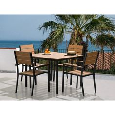 Home Loft Concepts Prato 5 Piece Dining Set Modern Outdoor Dining Sets, Wicker Dining Set, Garden Dining Set, Patio Bar Set, Outdoor Furniture Sets, Patio Dining, Outdoor Areas, Garden Furniture, Dining Chairs
