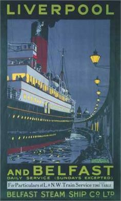 This travel poster was produced around 1934 by Belfast Steam Ship Co. to promote the daily service between the Ports of Liverpool and Belfast. The steam ship is docked in Donegal Quay alongside the old style wooden sheds of Belfast harbour Retro Poster, Vintage Travel Posters, Vintage Advertisements, Vintage Ads, Railway Posters, Posters Uk, Photo Vintage, Tarzan, Liverpool Poster