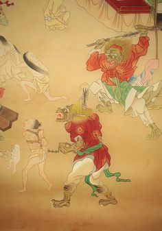 Jigoku-e: Scenes of Hell. Japanese painting on silk, mid 19th Century. Enma judges the souls of the dead.