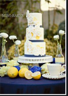 wedding cake navy & yellow