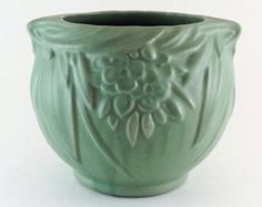 """Vintage  McCoy Matte Green """"Floral & Leaf"""" Pattern Jardiniere/Planter"""